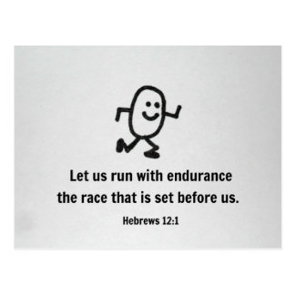 Hebrews 12:1 Let us run with endurance... Postcard