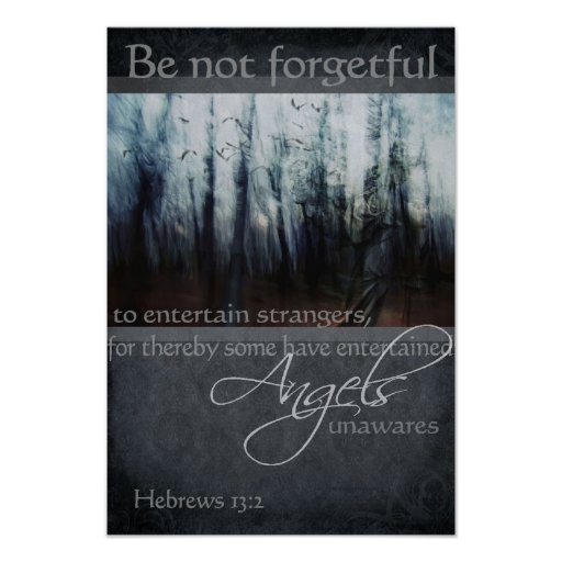 Hebrews 13:2 Angel Quote Poster