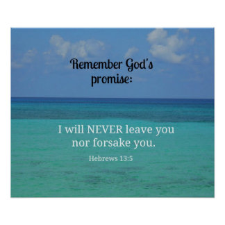 Hebrews 13:5 I will never leave you nor forsake... Posters