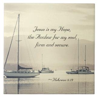 Hebrews 6:19 Jesus Anchor for my soul, Sailboats Large Square Tile