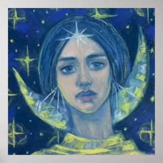 Hecate, Moon goddess, pastel painting, fantasy art Poster