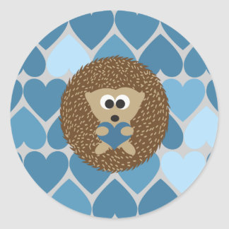 Hedgehog and Blue Hearts Classic Round Sticker