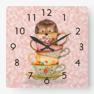 Hedgehog and Colorful Teacups on Pink Wall Clock