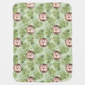 Hedgehog and green leaves baby blanket