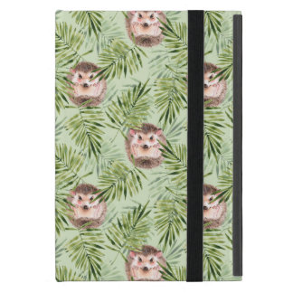 Hedgehog and green leaves case for iPad mini