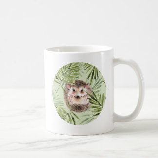 Hedgehog and green leaves coffee mug