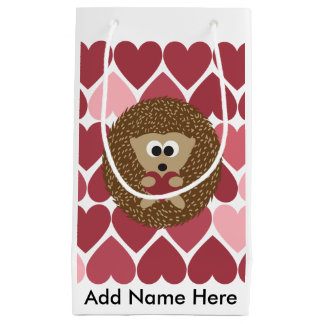 Hedgehog and hearts small gift bag