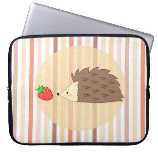 Hedgehog and Strawberry Laptop Sleeve