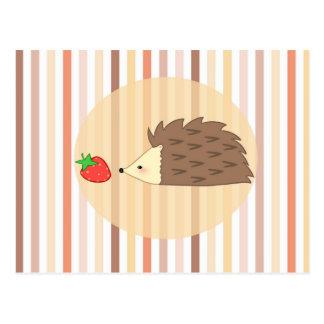 Hedgehog and Strawberry Postcard