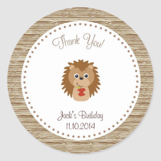 Hedgehog Birthday Thank You Sticker Woodland