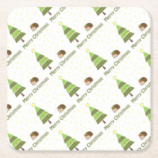Hedgehog Christmas Scene Square Paper Coaster