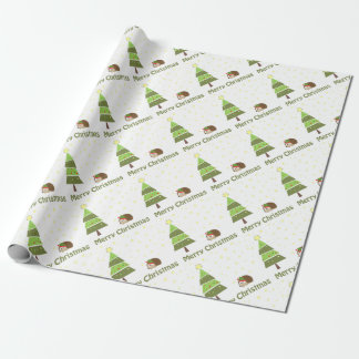 Hedgehog Christmas Scene Wrapping Paper