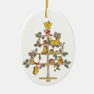 Hedgehog Christmas tree Ceramic Oval Decoration