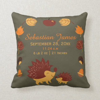 Hedgehog Cute New Baby Birth Record Personalized Throw Pillow