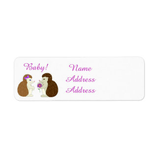 Hedgehog Daisy Baby Shower Labels