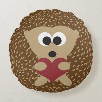 Hedgehog Hugging Heart Round Cushion