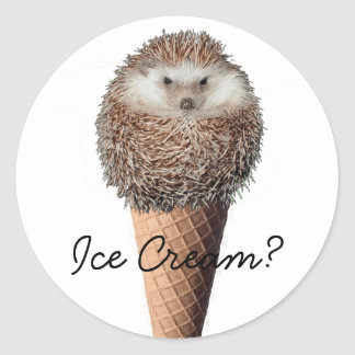 Hedgehog Ice Cream Round Sticker