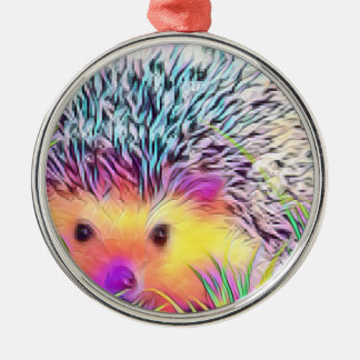 Hedgehog image Silver-Colored round decoration