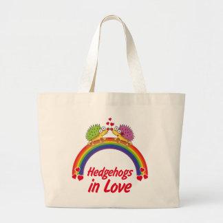 Hedgehog in love large tote bag
