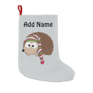 Hedgehog in Sleeping Cap Small Christmas Stocking