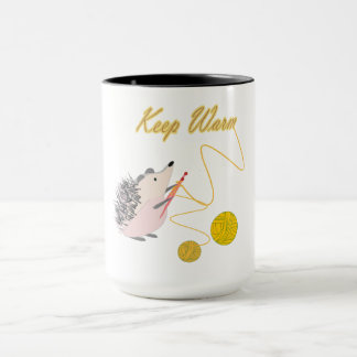 Hedgehog is knitting Keep warm Mug