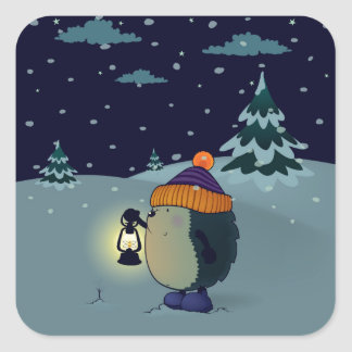 Hedgehog Jan in the winter night Square Sticker