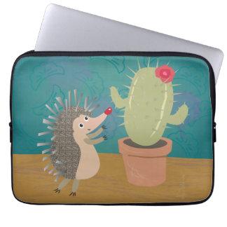 Hedgehog Meets Cactus Laptop Sleeve