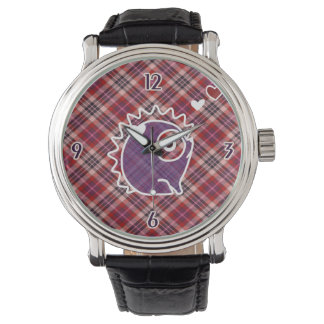 Hedgehog Plaid Purple Leather Watch