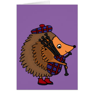 Hedgehog Playing Bagpipes Card