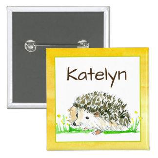 Hedgehog Watercolor Name Tag 15 Cm Square Badge