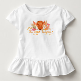 hedgehog watercolor toddler ruffle tee