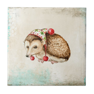 Hedgehog with a cute funny hat small square tile