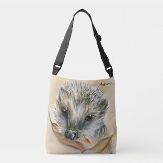 Hedgehog with Autumn Leaves Personalized Crossbody Bag