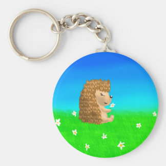 hedgehog with flower basic round button key ring
