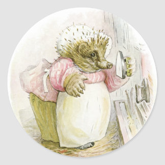 Hedgehog with Iron Mrs Tiggy-Winkle Classic Round Sticker