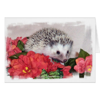 Hedgehog With Orange Flowers Card