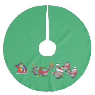 Hedgehog's Christmas magic Brushed Polyester Tree Skirt