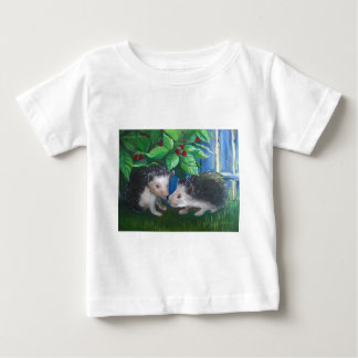 Hedgehogs in love oil painting baby T-Shirt