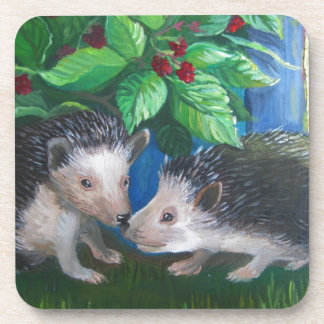 Hedgehogs in love oil painting coaster