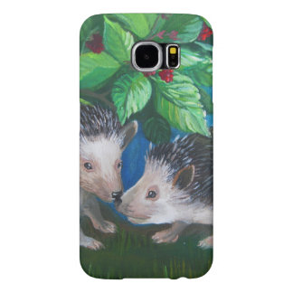 Hedgehogs in love oil painting samsung galaxy s6 cases