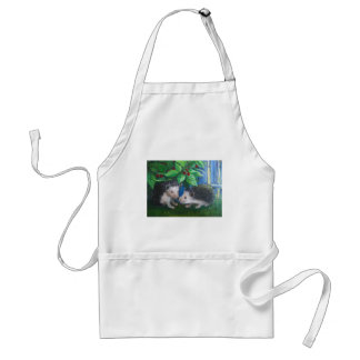 Hedgehogs in love oil painting standard apron