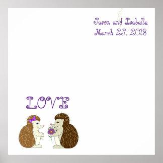 Hedgehogs in love poster