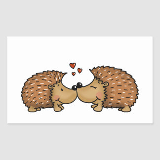 Hedgehogs in Love Rectangular Sticker