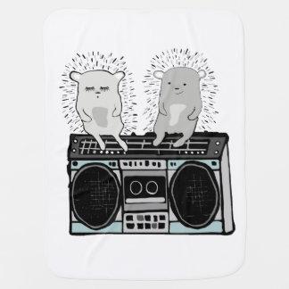 Hedgehogs on boombox baby blanket