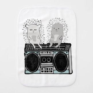 Hedgehogs on boombox burp cloth
