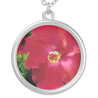 Hedonic Hibiscus Circle Pendant Necklace