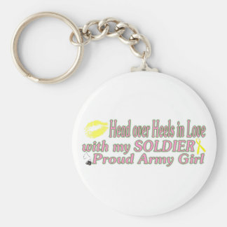 Heels in love with a Soldier Basic Round Button Key Ring