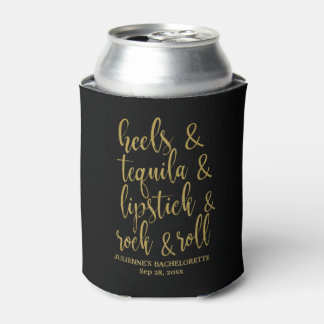 Heels & Tequila Stylish Gold Glitter Bachelorette Can Cooler