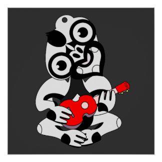 Hei Tiki playing red ukulele