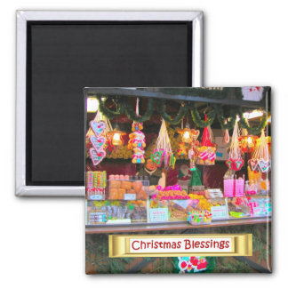 Heidelberg Christmas Market, candy and popcorn Square Magnet